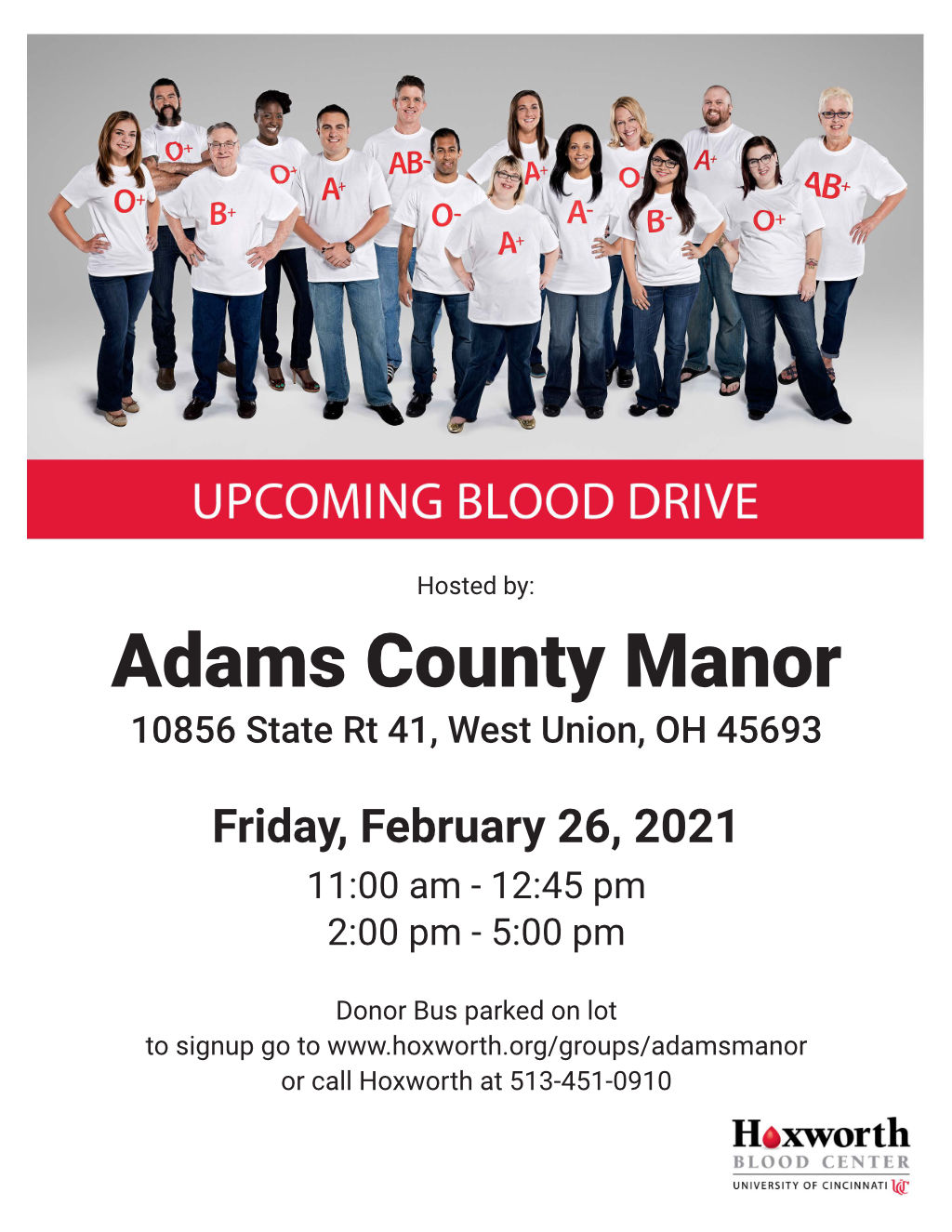 Join us February 26 for our blood drive at Adams County Manor!